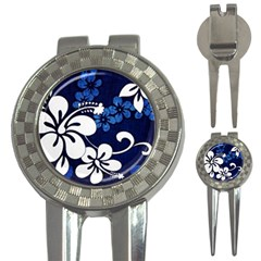 Blue Hibiscus 3-in-1 Golf Divots