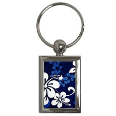 Blue Hibiscus Key Chains (Rectangle)