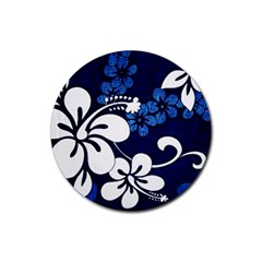Blue Hibiscus Rubber Round Coaster (4 pack)