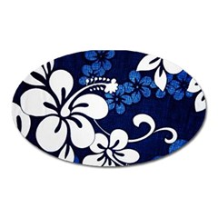 Blue Hibiscus Oval Magnet