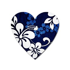 Blue Hibiscus Heart Magnet