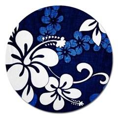 Blue Hibiscus Magnet 5  (Round)