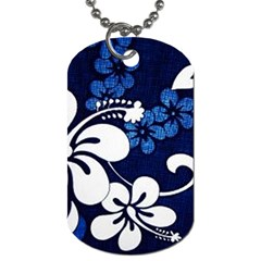 Blue Hibiscus Dog Tag (One Side)
