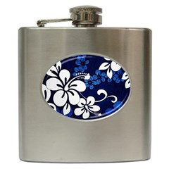 Blue Hibiscus Hip Flask (6 oz)