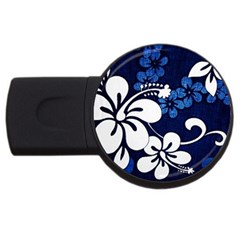Blue Hibiscus USB Flash Drive Round (2 GB)