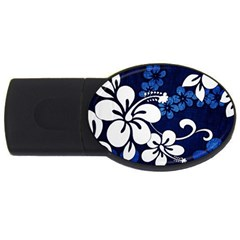 Blue Hibiscus USB Flash Drive Oval (2 GB)