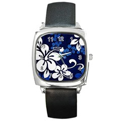 Blue Hibiscus Square Metal Watch