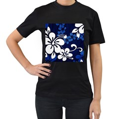 Blue Hibiscus Women s T-Shirt (Black) (Two Sided)