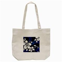 Blue Hibiscus Tote Bag (Cream)