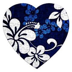 Blue Hibiscus Jigsaw Puzzle (Heart)