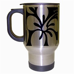 Blue Hibiscus Travel Mug (Silver Gray)