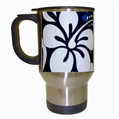 Blue Hibiscus Travel Mugs (White)