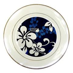 Blue Hibiscus Porcelain Plates