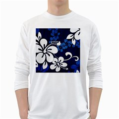 Blue Hibiscus White Long Sleeve T-Shirts