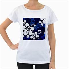 Blue Hibiscus Women s Loose-Fit T-Shirt (White)