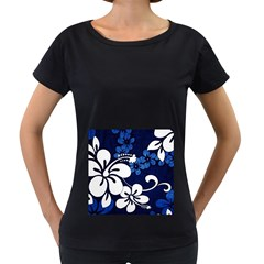 Blue Hibiscus Women s Loose-Fit T-Shirt (Black)
