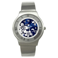 Blue Hibiscus Stainless Steel Watch