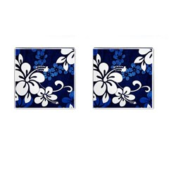 Blue Hibiscus Cufflinks (Square)