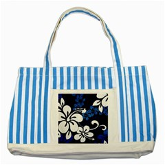 Blue Hibiscus Striped Blue Tote Bag