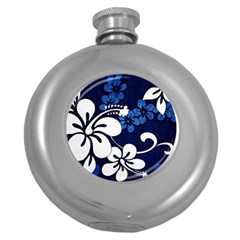 Blue Hibiscus Round Hip Flask (5 oz)