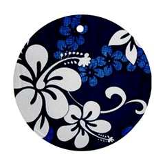 Blue Hibiscus Round Ornament (Two Sides)