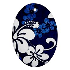 Blue Hibiscus Oval Ornament (Two Sides)