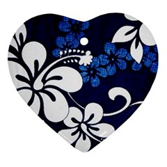 Blue Hibiscus Heart Ornament (2 Sides)