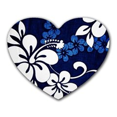 Blue Hibiscus Heart Mousepads