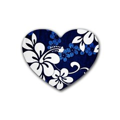 Blue Hibiscus Heart Coaster (4 pack)