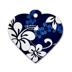 Blue Hibiscus Dog Tag Heart (Two Sides)