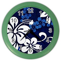 Blue Hibiscus Color Wall Clocks