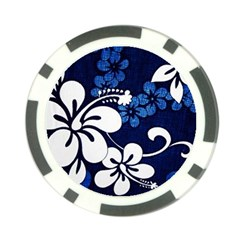 Blue Hibiscus Poker Chip Card Guards