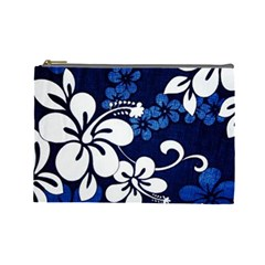 Blue Hibiscus Cosmetic Bag (Large)
