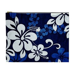 Blue Hibiscus Cosmetic Bag (XL)
