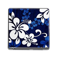 Blue Hibiscus Memory Card Reader (Square)