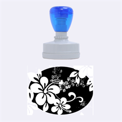 Blue Hibiscus Rubber Oval Stamps