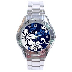 Blue Hibiscus Stainless Steel Analogue Watch