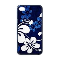 Blue Hibiscus Apple iPhone 4 Case (Black)