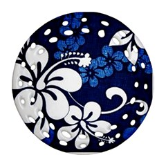 Blue Hibiscus Round Filigree Ornament (2Side)