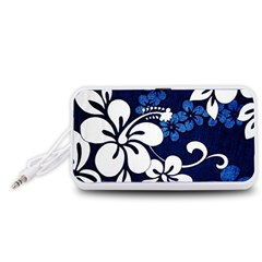 Blue Hibiscus Portable Speaker (White)