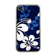 Blue Hibiscus Apple iPhone 4 Case (Clear)