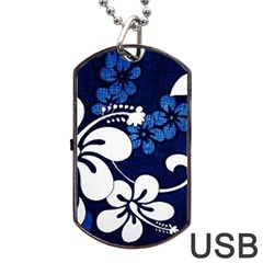 Blue Hibiscus Dog Tag USB Flash (Two Sides)