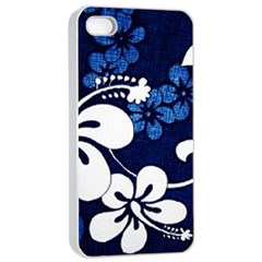 Blue Hibiscus Apple iPhone 4/4s Seamless Case (White)