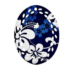 Blue Hibiscus Oval Filigree Ornament (2-Side)