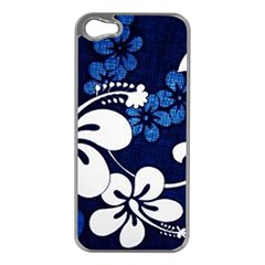 Blue Hibiscus Apple iPhone 5 Case (Silver)