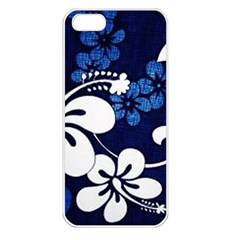 Blue Hibiscus Apple iPhone 5 Seamless Case (White)