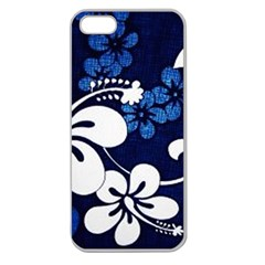 Blue Hibiscus Apple Seamless iPhone 5 Case (Clear)
