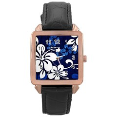 Blue Hibiscus Rose Gold Leather Watch