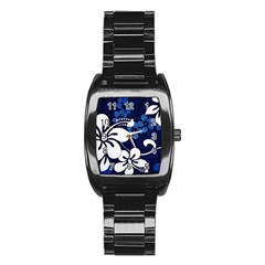 Blue Hibiscus Stainless Steel Barrel Watch