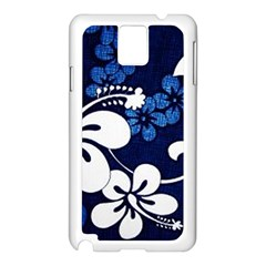 Blue Hibiscus Samsung Galaxy Note 3 N9005 Case (White)